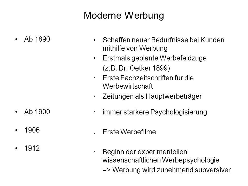 Moderne WerbungAb 1890. Ab 1900. 1906. 1912. Schaffen neuer Bedürfnisse bei Kunden mithilfe von Werbung.