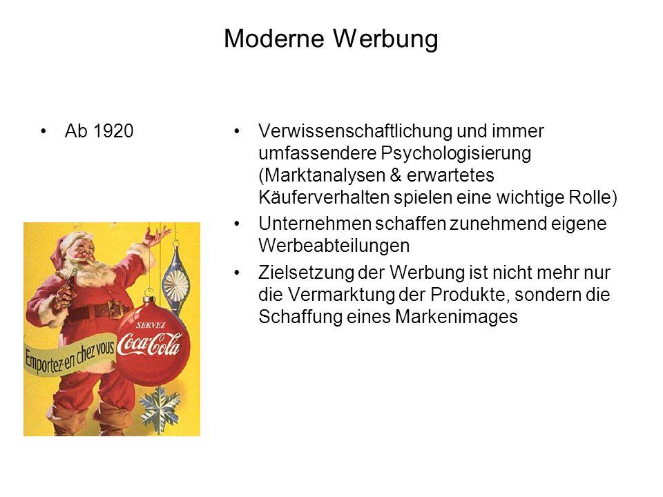Moderne Werbung Ab 1920.