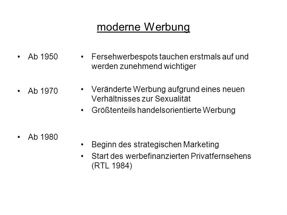 moderne Werbung Ab 1950 Ab 1970 Ab 1980