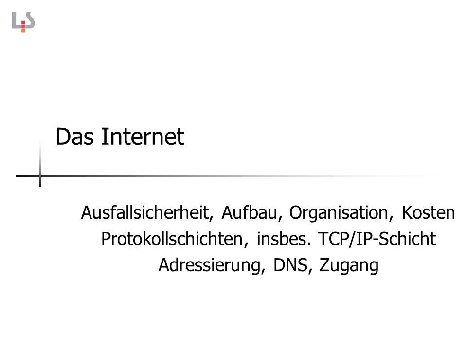 Das Internet Ausfallsicherheit, Aufbau, Organisation, Kosten