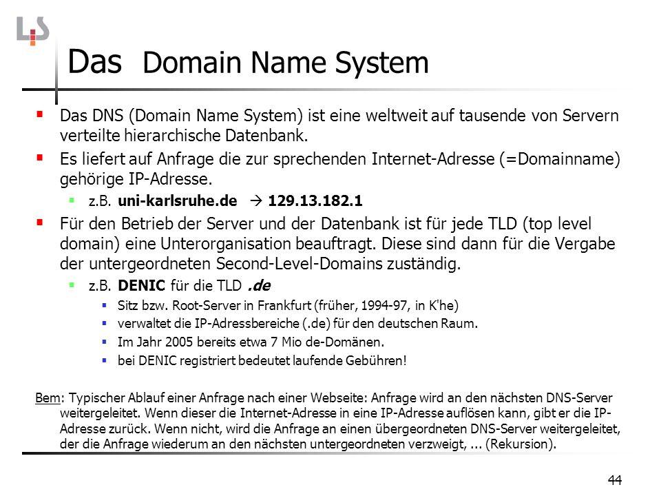 Das Domain Name System Das DNS (Domain Name System) ist eine weltweit auf tausende von Servern verteilte hierarchische Datenbank.