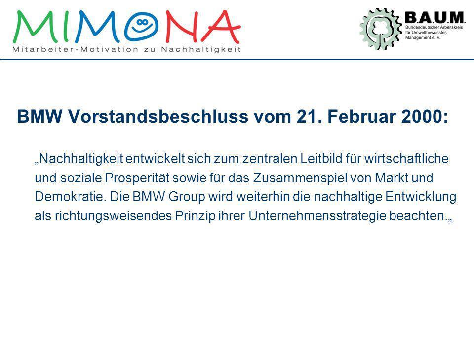 BMW Vorstandsbeschluss vom 21. Februar 2000: