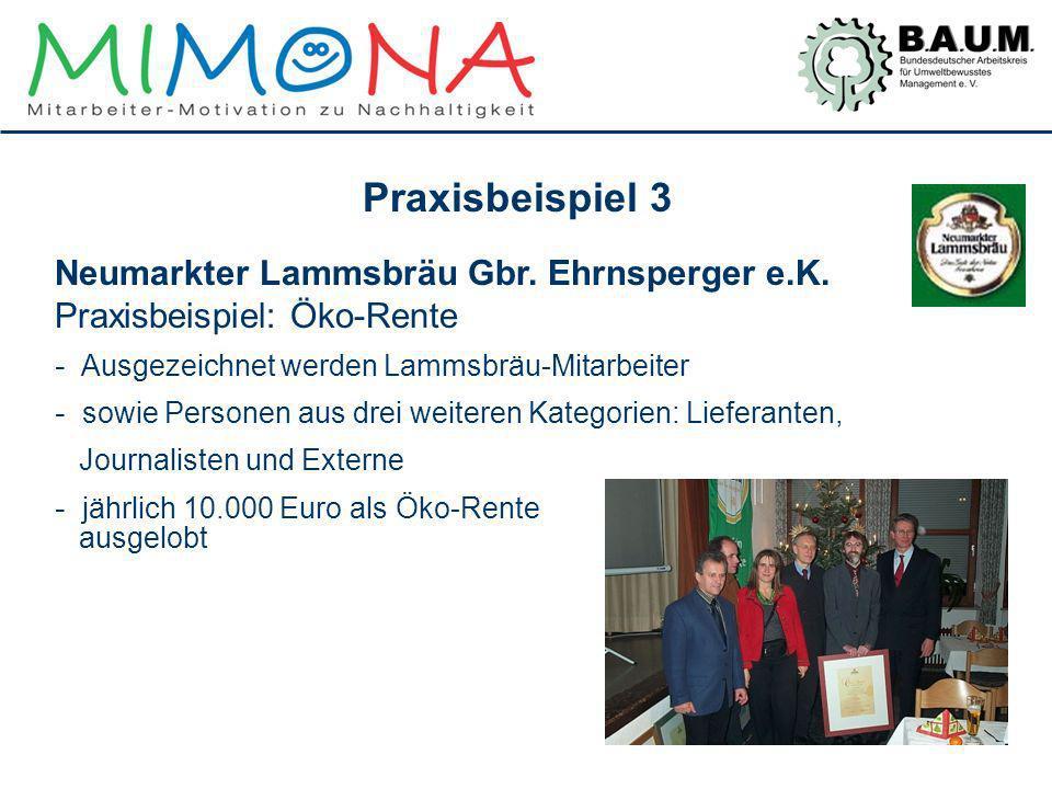 Praxisbeispiel 3 Neumarkter Lammsbräu Gbr. Ehrnsperger e.K. Praxisbeispiel: Öko-Rente. Ausgezeichnet werden Lammsbräu-Mitarbeiter.
