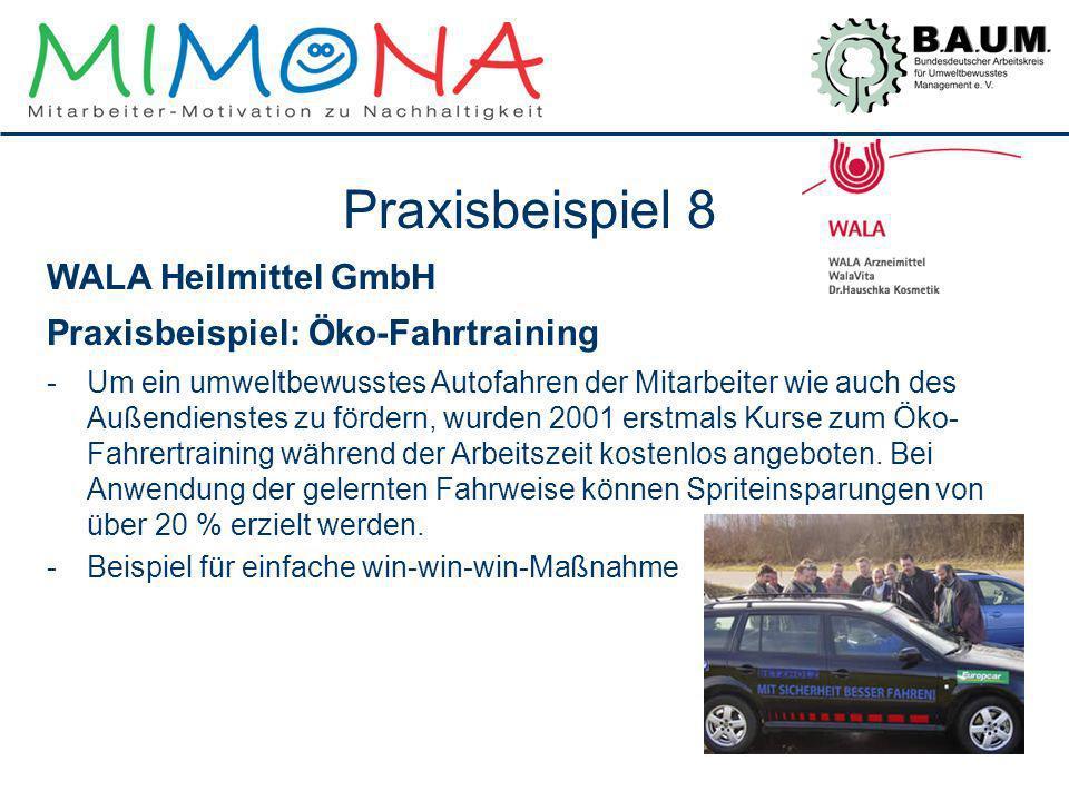 Praxisbeispiel 8 WALA Heilmittel GmbH Praxisbeispiel: Öko-Fahrtraining