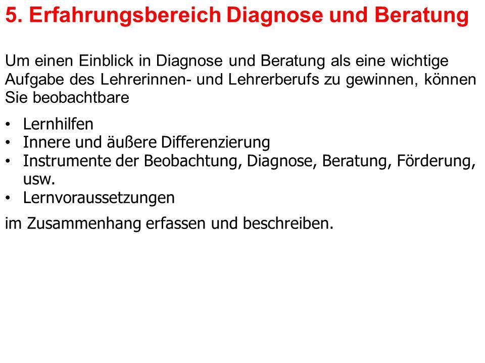 5. Erfahrungsbereich Diagnose und Beratung