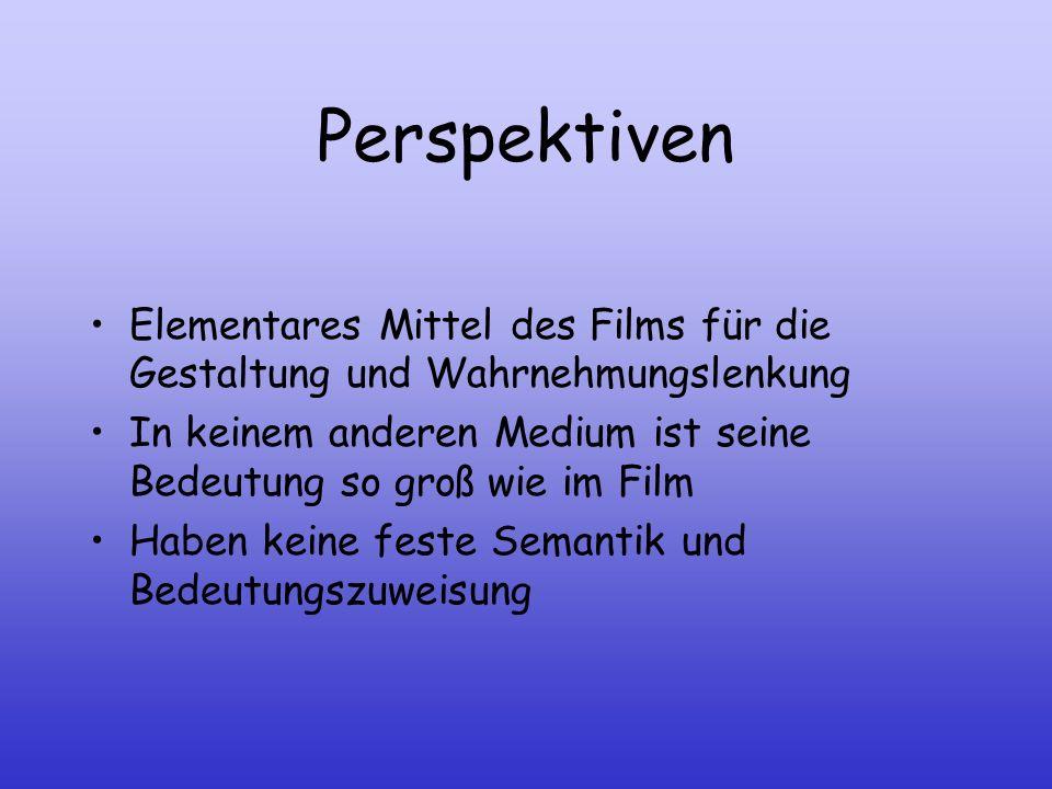 PerspektivenElementares Mittel des Films für die Gestaltung und Wahrnehmungslenkung.