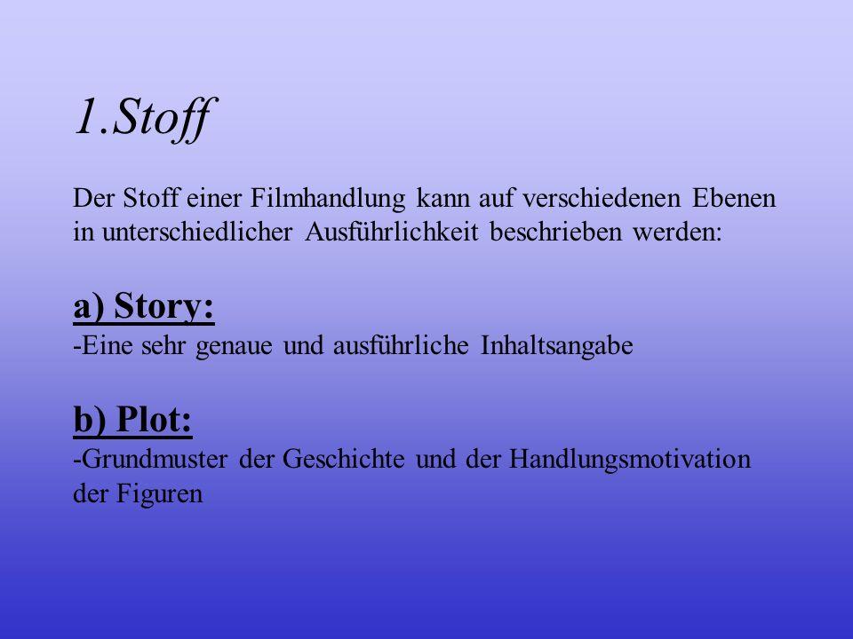 1.Stoff Der Stoff einer Filmhandlung kann auf verschiedenen Ebenen in unterschiedlicher Ausführlichkeit beschrieben werden: a) Story: -Eine sehr genaue und ausführliche Inhaltsangabe b) Plot: -Grundmuster der Geschichte und der Handlungsmotivation der Figuren
