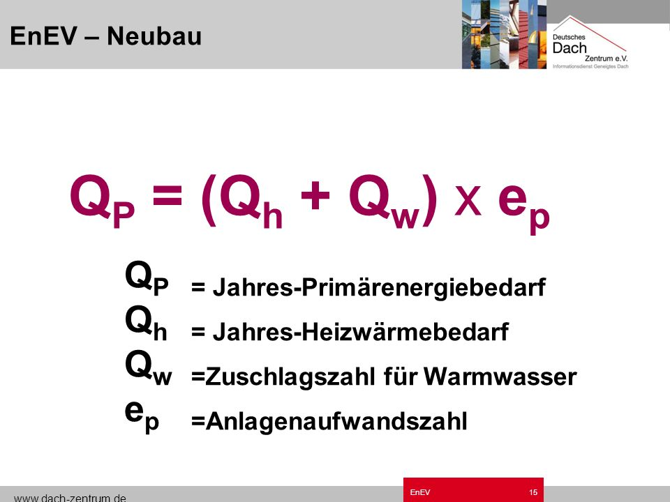 QP = (Qh + Qw) x ep QP = Jahres-Primärenergiebedarf