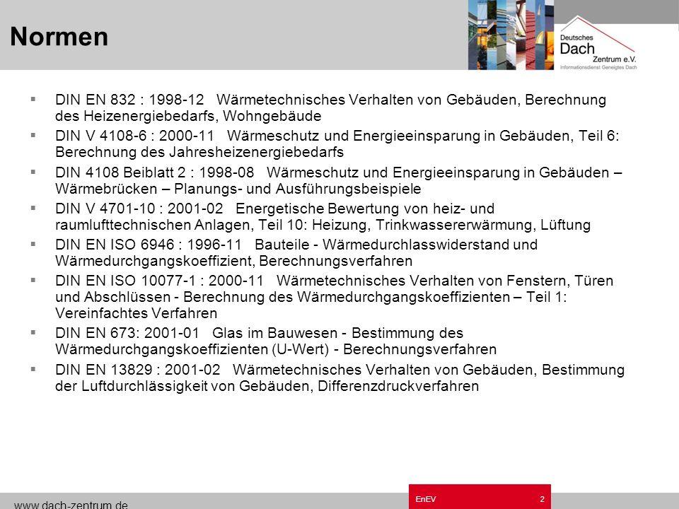 Normen Grundzüge EnEV.ppt. DIN EN 832 : 1998-12 Wärmetechnisches Verhalten von Gebäuden, Berechnung des Heizenergiebedarfs, Wohngebäude.