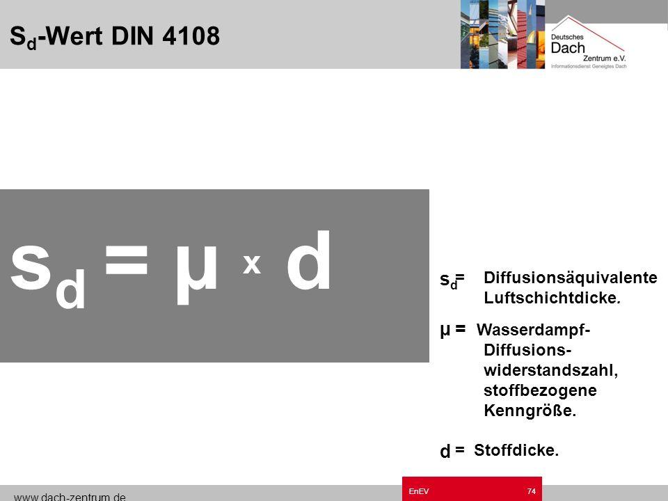 sd = µ x d Sd-Wert DIN 4108 sd µ d = Wasserdampf-