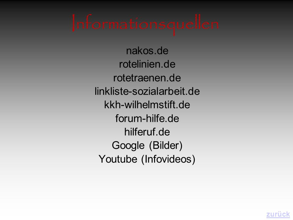 Informationsquellen nakos.de rotelinien.de rotetraenen.de