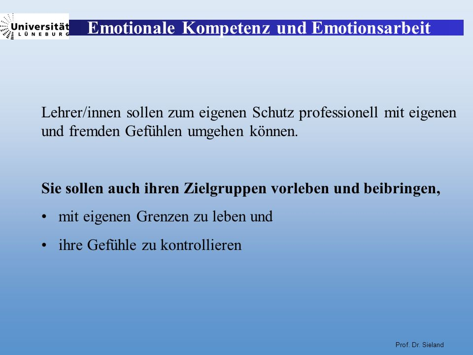 Emotionale Kompetenz und Emotionsarbeit