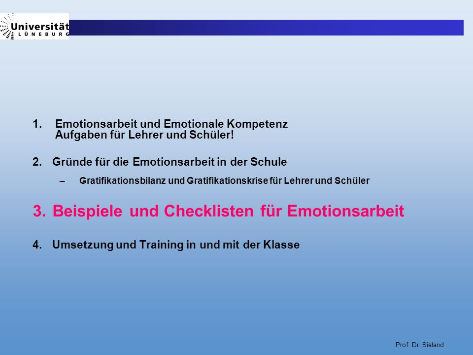 Beispiele und Checklisten für Emotionsarbeit