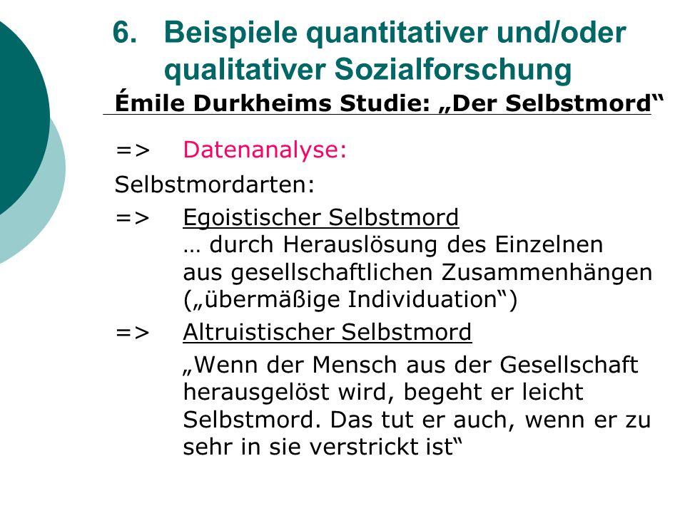 6. Beispiele quantitativer und/oder qualitativer Sozialforschung