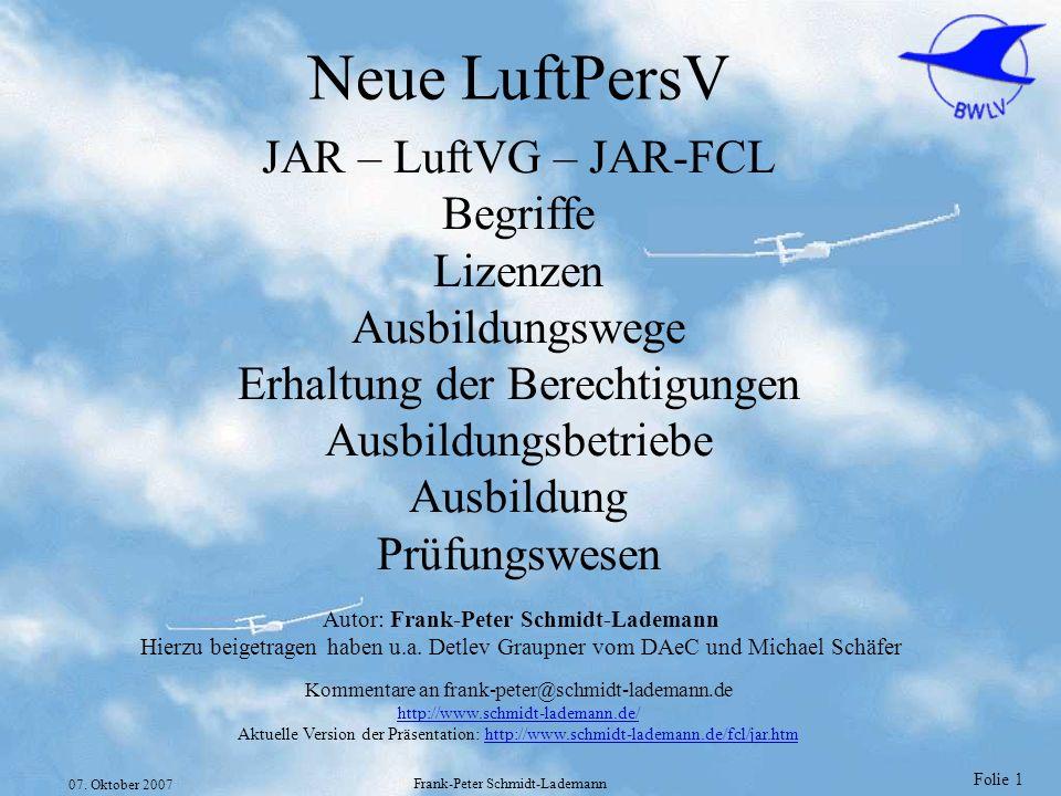 Neue LuftPersV JAR – LuftVG – JAR-FCL Begriffe Lizenzen