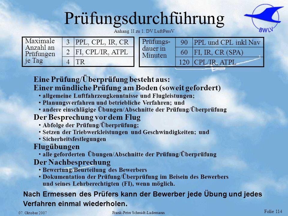 Prüfungsdurchführung Anhang 1I zu 1. DV LuftPersV