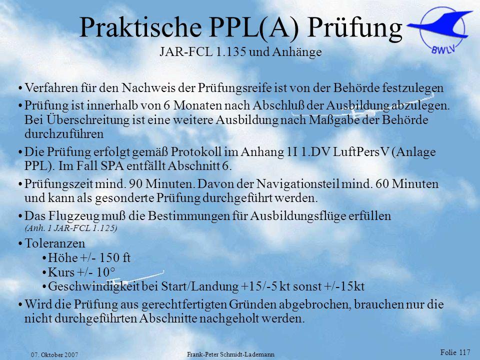 Praktische PPL(A) Prüfung JAR-FCL 1.135 und Anhänge