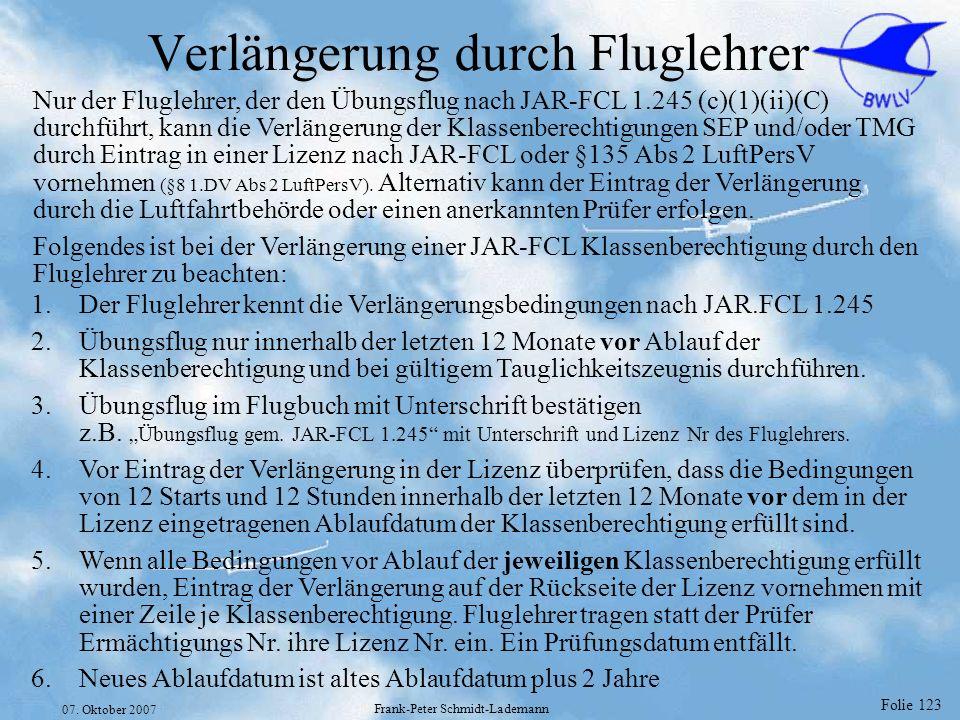 Verlängerung durch Fluglehrer