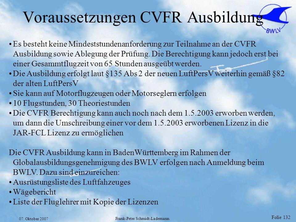 Voraussetzungen CVFR Ausbildung