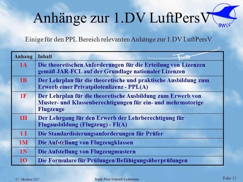 Anhänge zur 1.DV LuftPersV