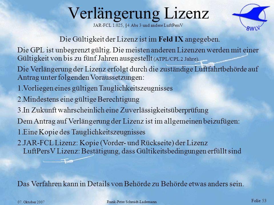 Verlängerung Lizenz JAR-FCL 1.025, §4 Abs 3 und andere LuftPersV