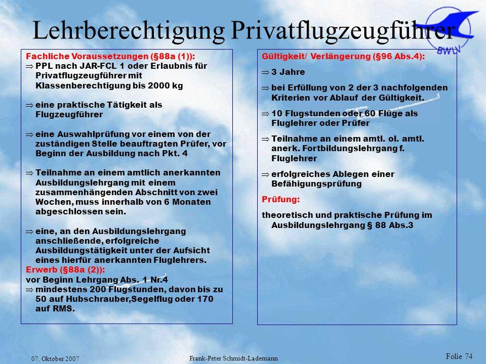 Lehrberechtigung Privatflugzeugführer