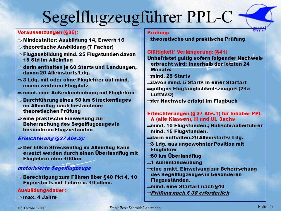 Segelflugzeugführer PPL-C