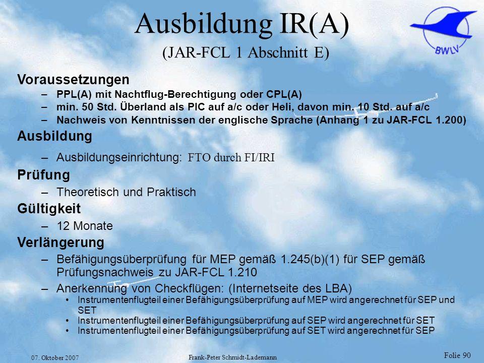 Ausbildung IR(A) (JAR-FCL 1 Abschnitt E)