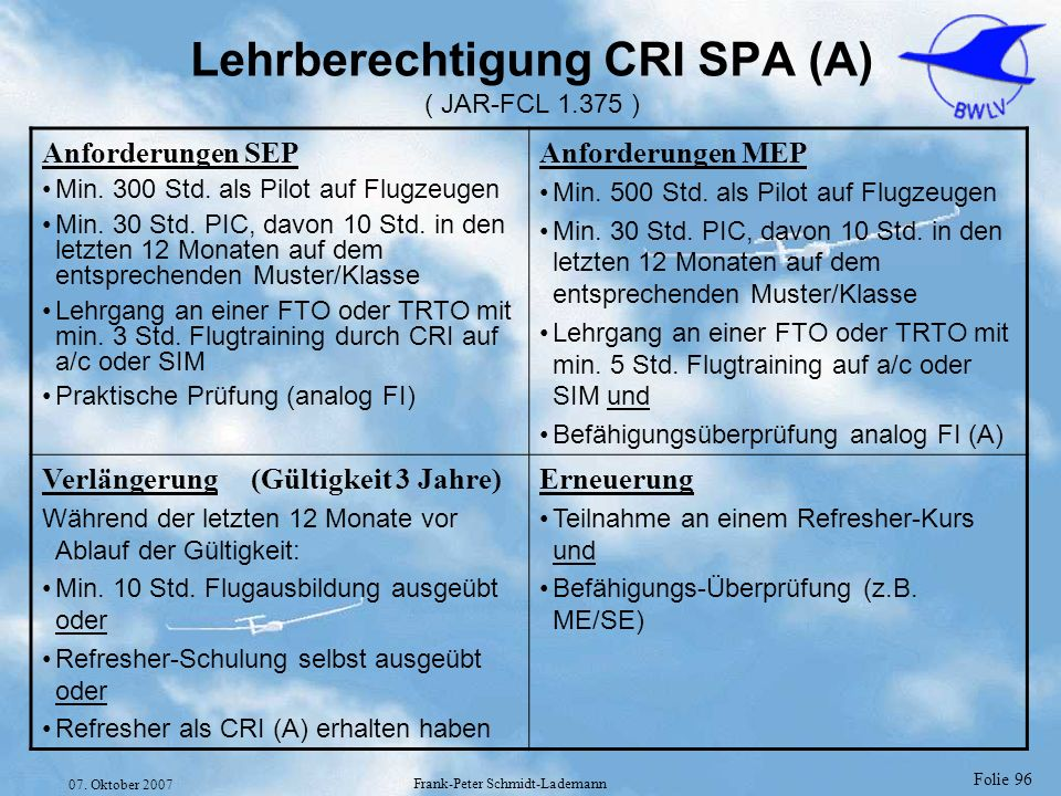 Lehrberechtigung CRI SPA (A) ( JAR-FCL 1.375 )