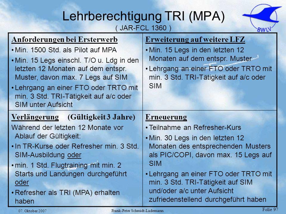 Lehrberechtigung TRI (MPA) ( JAR-FCL 1360 )