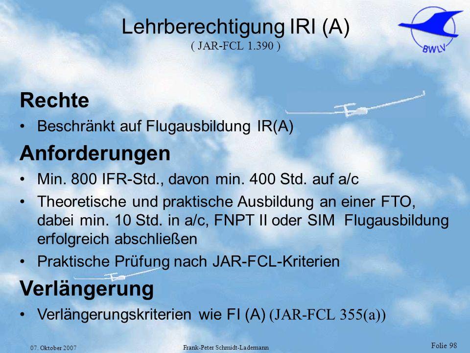 Lehrberechtigung IRI (A) ( JAR-FCL 1.390 )