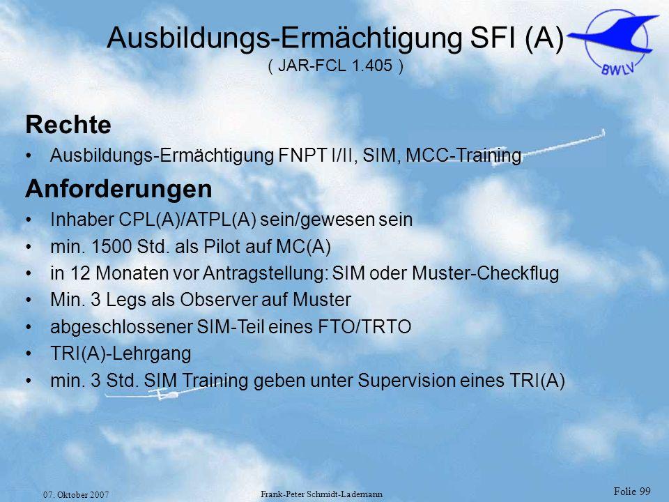 Ausbildungs-Ermächtigung SFI (A) ( JAR-FCL 1.405 )