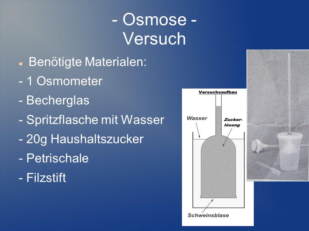 - Osmose - Versuch Benötigte Materialen: - 1 Osmometer - Becherglas