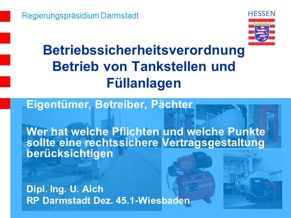 Betriebssicherheitsverordnung Betrieb von Tankstellen und Füllanlagen