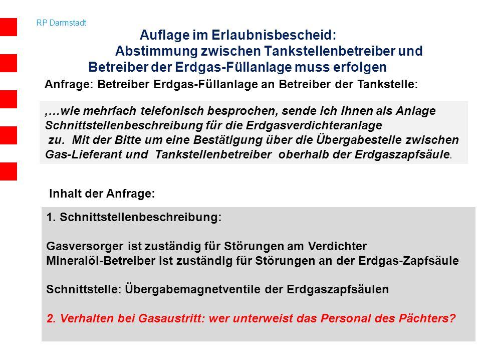 Auflage im Erlaubnisbescheid: Abstimmung zwischen Tankstellenbetreiber und Betreiber der Erdgas-Füllanlage muss erfolgen