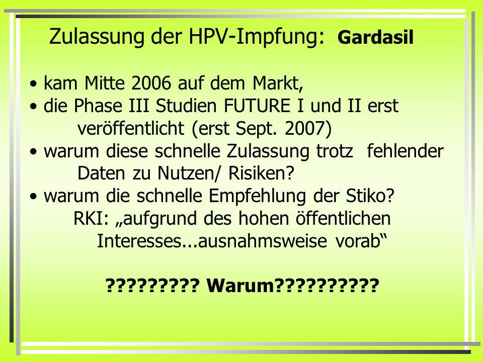 Zulassung der HPV-Impfung: Gardasil