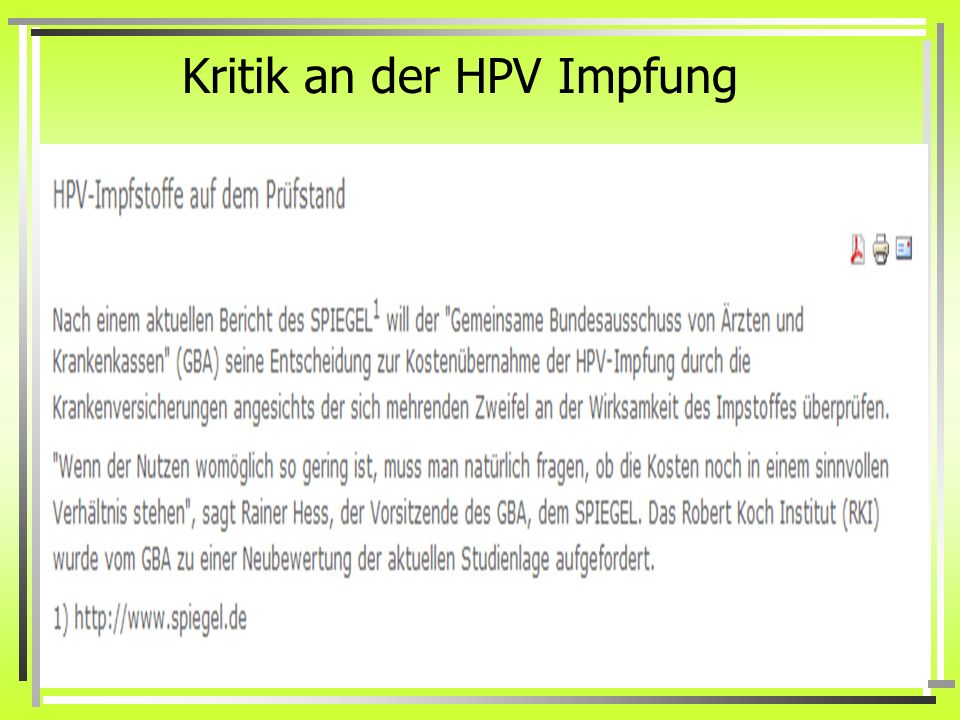 Kritik an der HPV Impfung