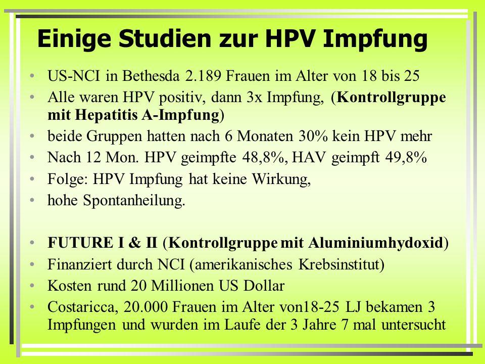 Einige Studien zur HPV Impfung