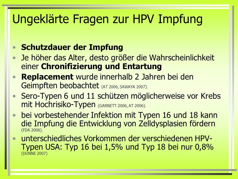 Ungeklärte Fragen zur HPV Impfung
