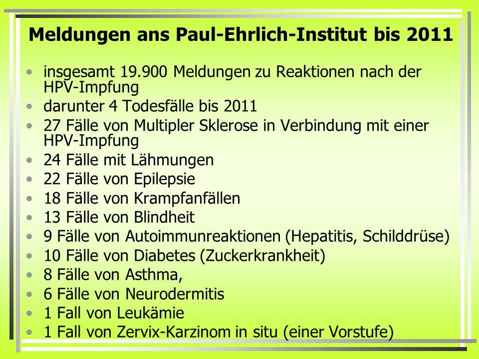 Meldungen ans Paul-Ehrlich-Institut bis 2011