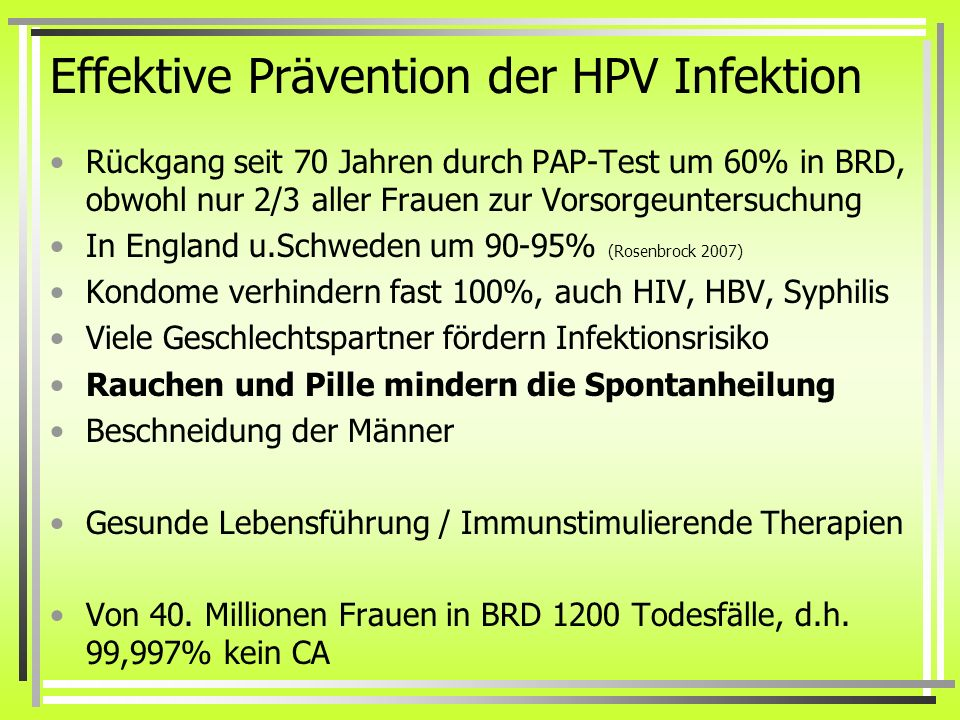 Effektive Prävention der HPV Infektion