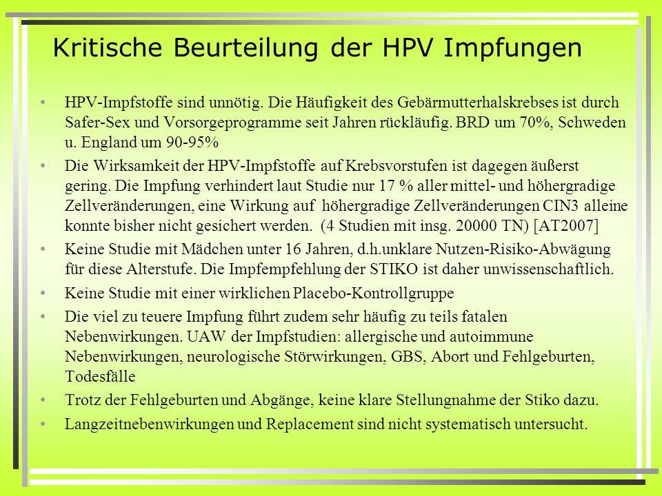 Kritische Beurteilung der HPV Impfungen