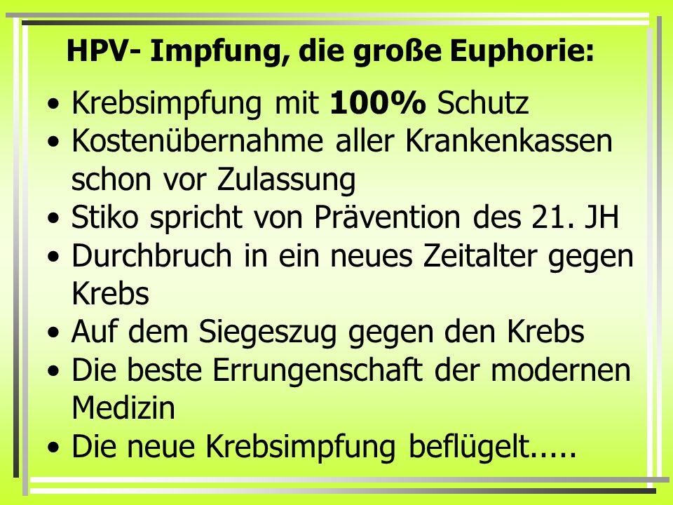 HPV- Impfung, die große Euphorie: