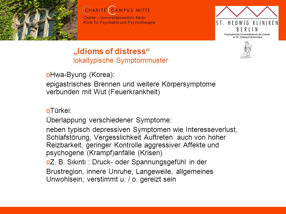 """Idioms of distress lokaltypische Symptommuster"