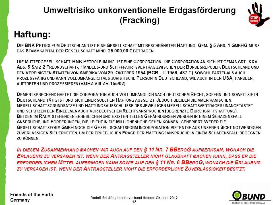 Haftung: Umweltrisiko unkonventionelle Erdgasförderung (Fracking)