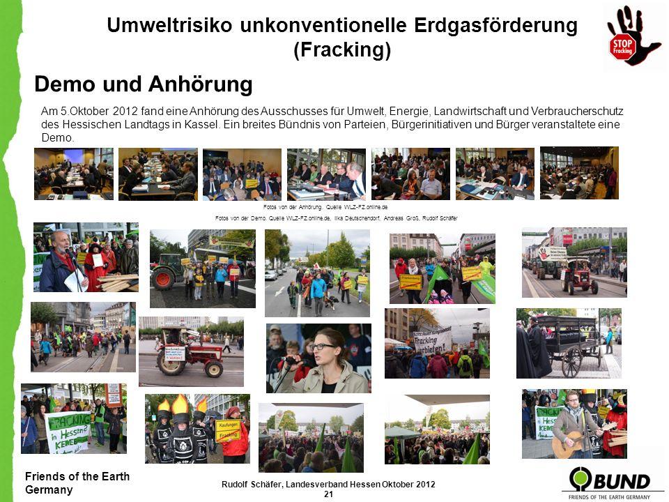 Demo und Anhörung Umweltrisiko unkonventionelle Erdgasförderung