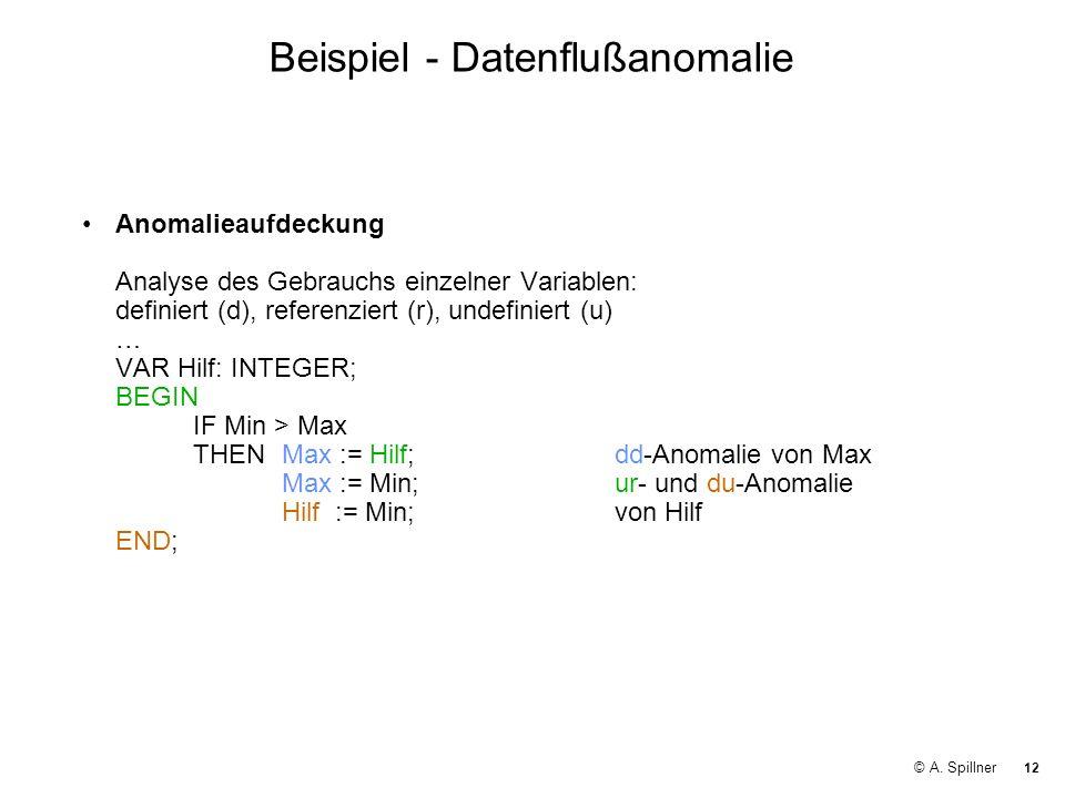 Beispiel - Datenflußanomalie