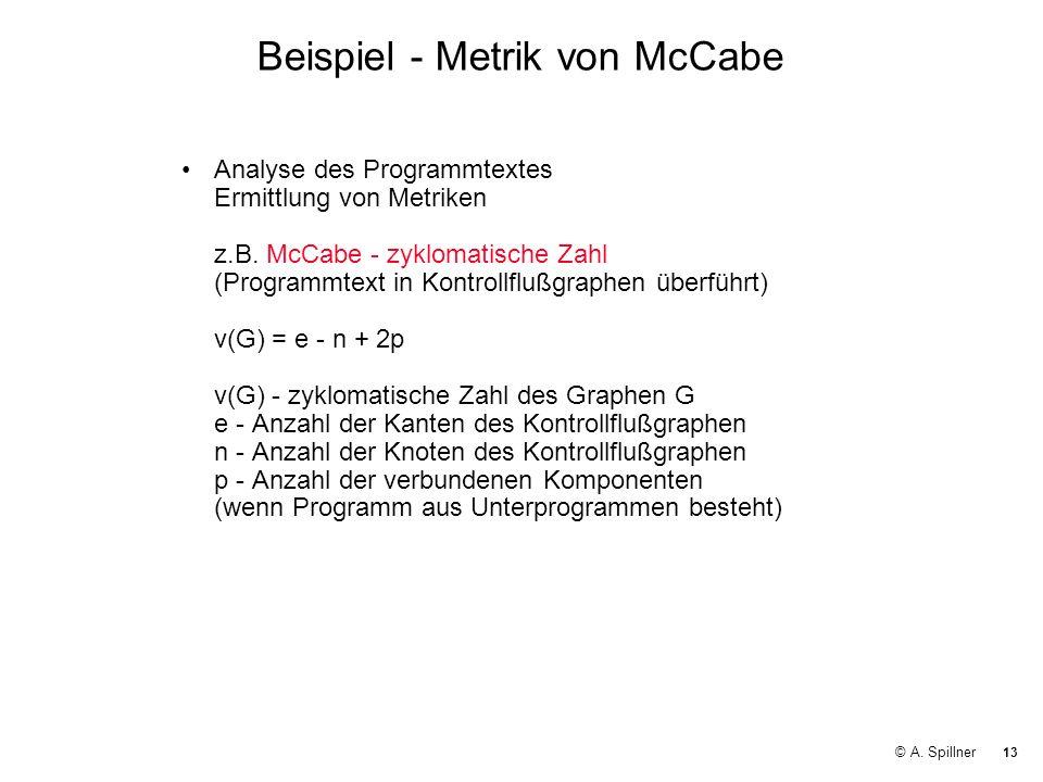 Beispiel - Metrik von McCabe