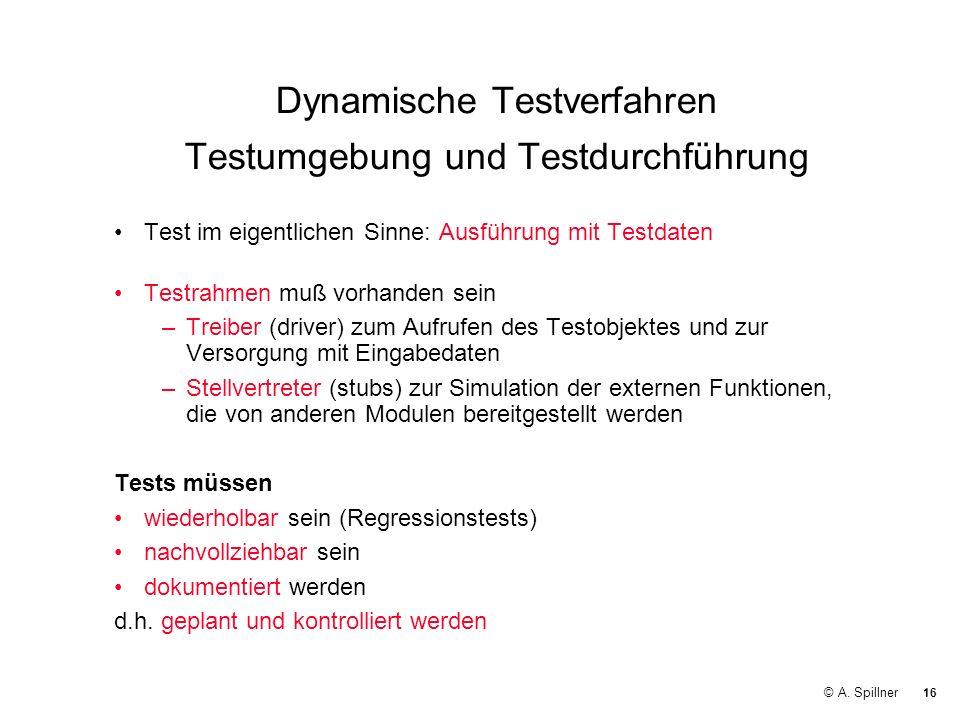 Dynamische Testverfahren Testumgebung und Testdurchführung