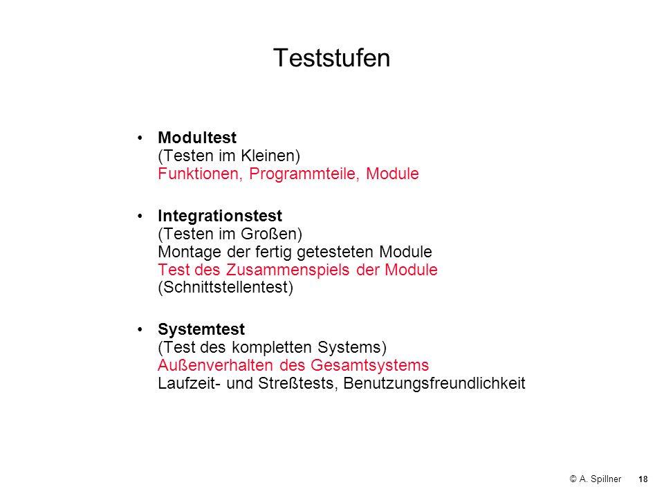 Teststufen Modultest (Testen im Kleinen) Funktionen, Programmteile, Module.